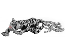 Rhodium Plated Siberian Tiger Pendant / Brooch